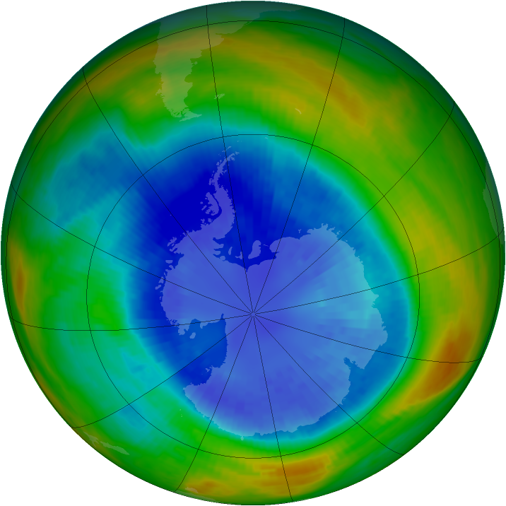 Antarctic ozone map for 09 September 1989