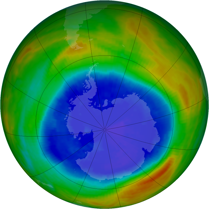 Antarctic ozone map for 18 September 1989