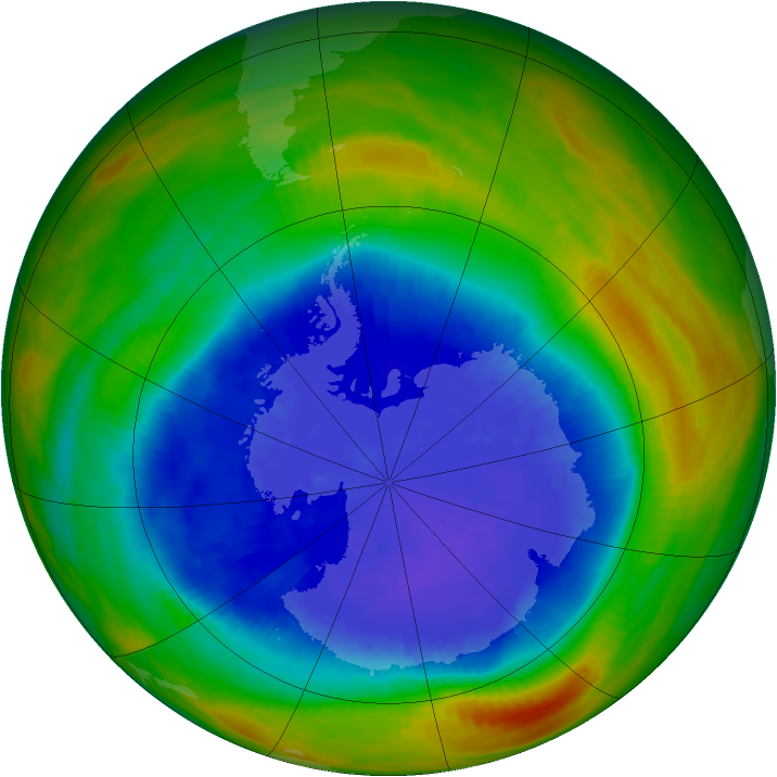 Antarctic ozone map for 19 September 1989