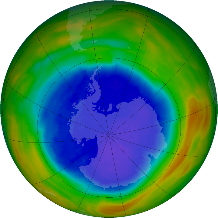 Antarctic ozone map for 21 September 1989