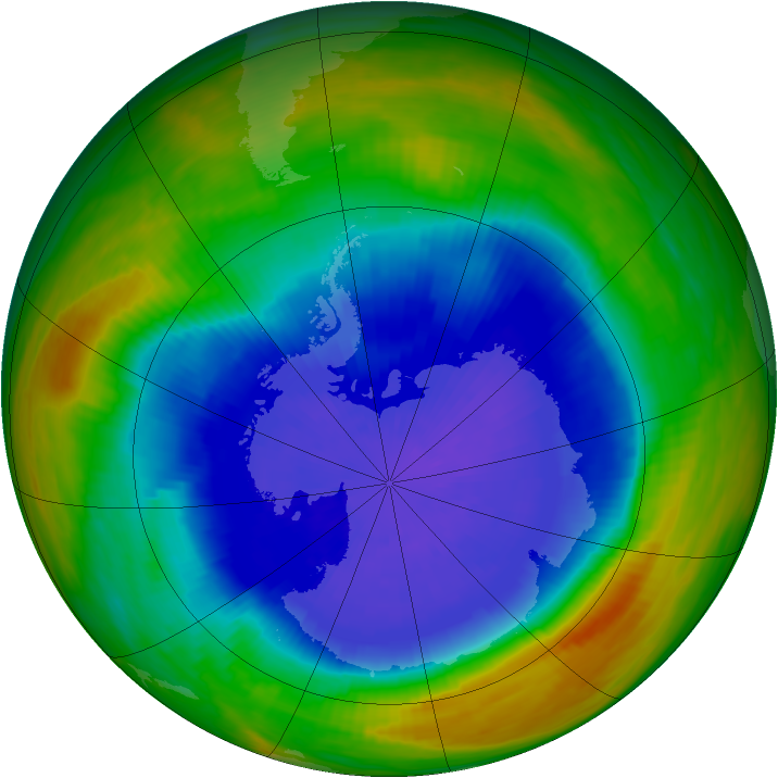 Antarctic ozone map for 26 September 1989