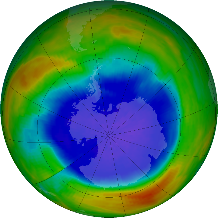 Antarctic ozone map for 27 September 1989