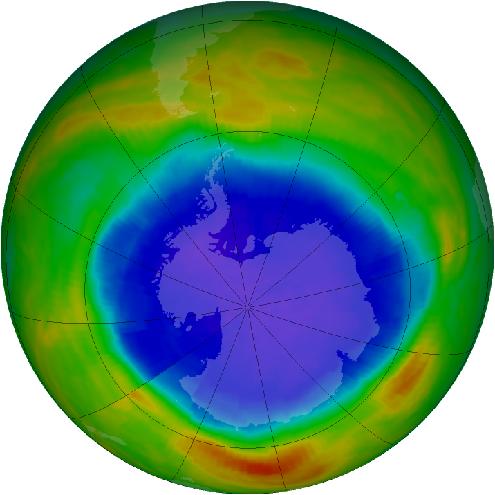 Antarctic ozone map for 29 September 1989
