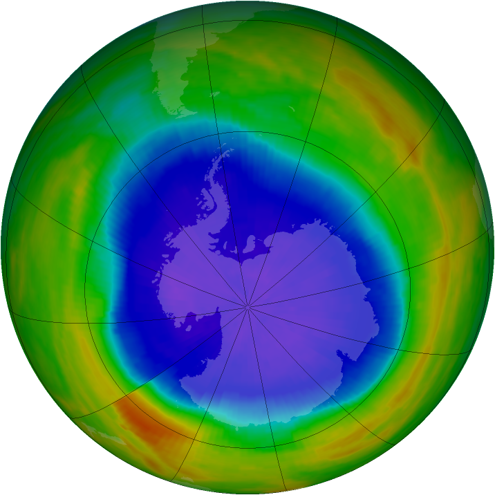 Antarctic ozone map for 02 October 1989