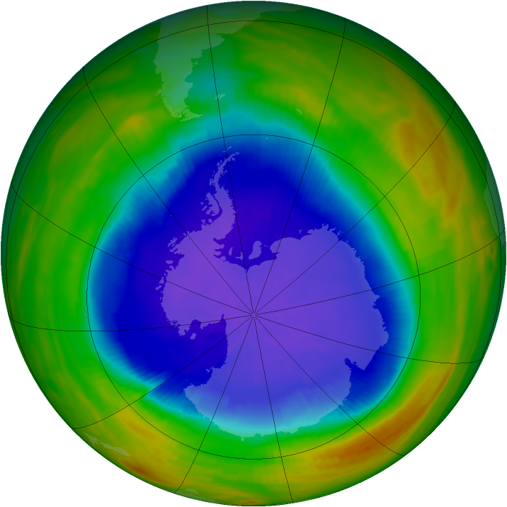 Antarctic ozone map for 03 October 1989