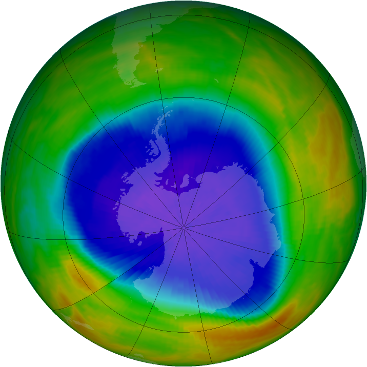 Antarctic ozone map for 04 October 1989