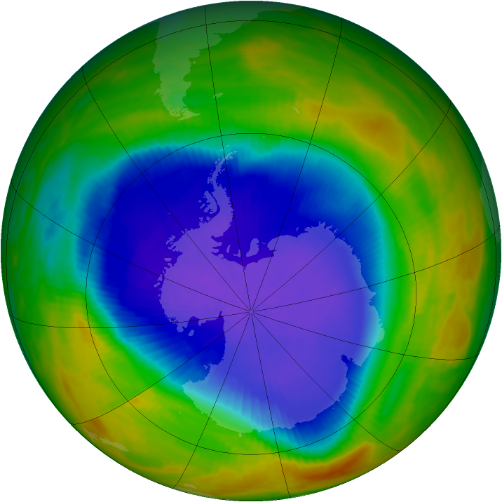 Antarctic ozone map for 05 October 1989
