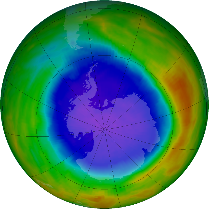Antarctic ozone map for 07 October 1989