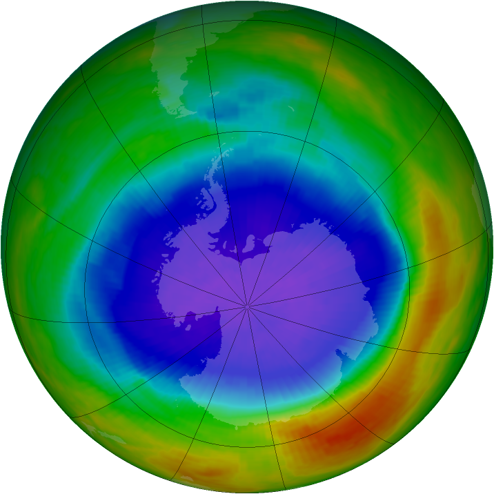 Antarctic ozone map for 09 October 1989