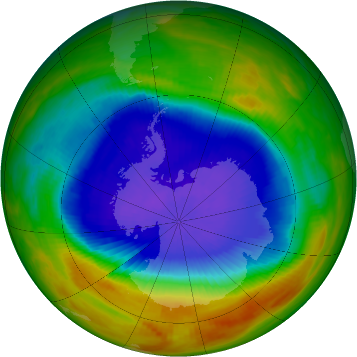 Antarctic ozone map for 12 October 1989