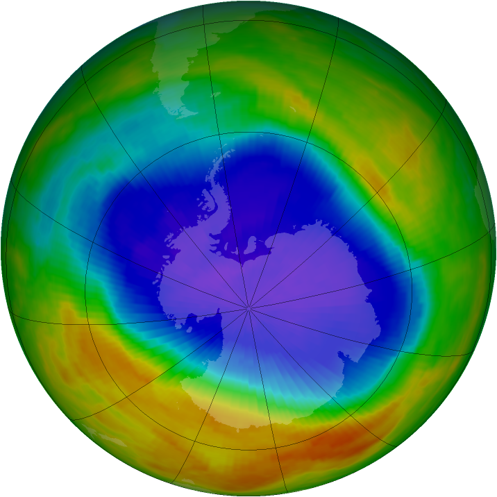 Antarctic ozone map for 13 October 1989