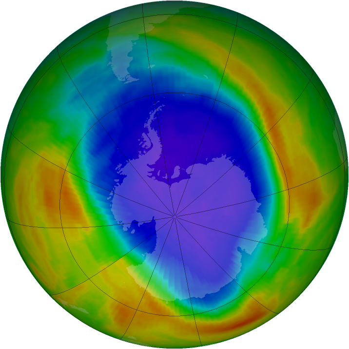Antarctic ozone map for 16 October 1989