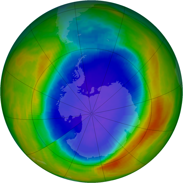 Antarctic ozone map for 19 October 1989