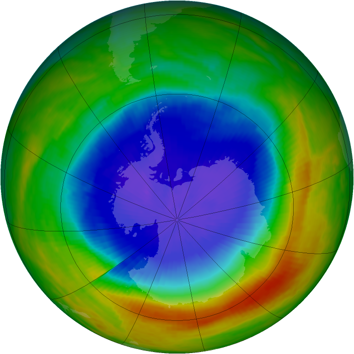 Antarctic ozone map for 21 October 1989