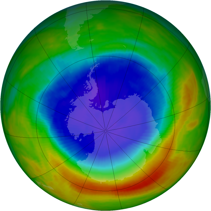 Antarctic ozone map for 22 October 1989