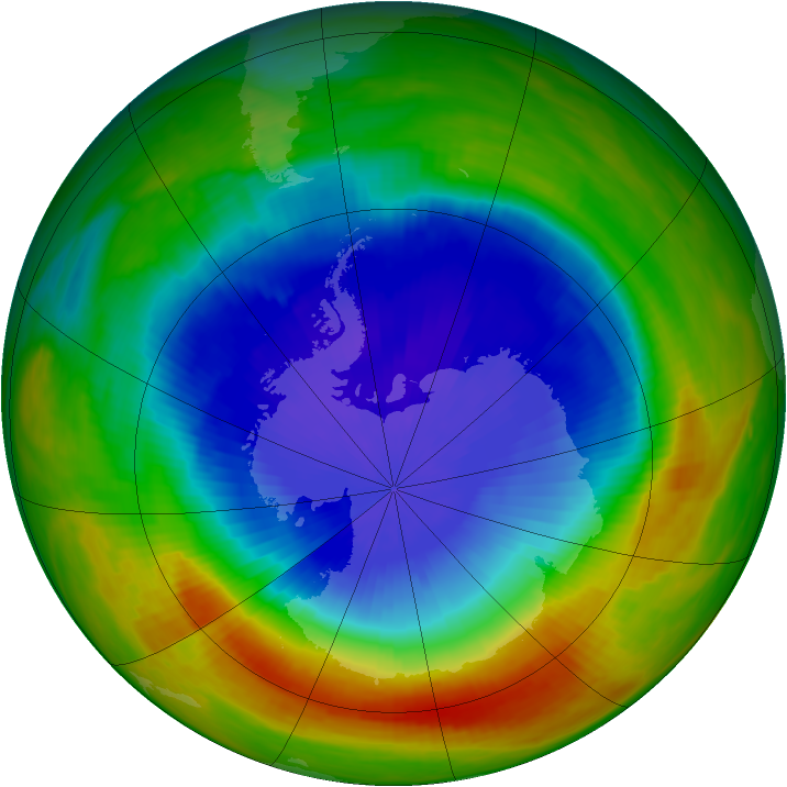 Antarctic ozone map for 23 October 1989