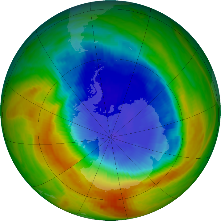 Antarctic ozone map for 29 October 1989