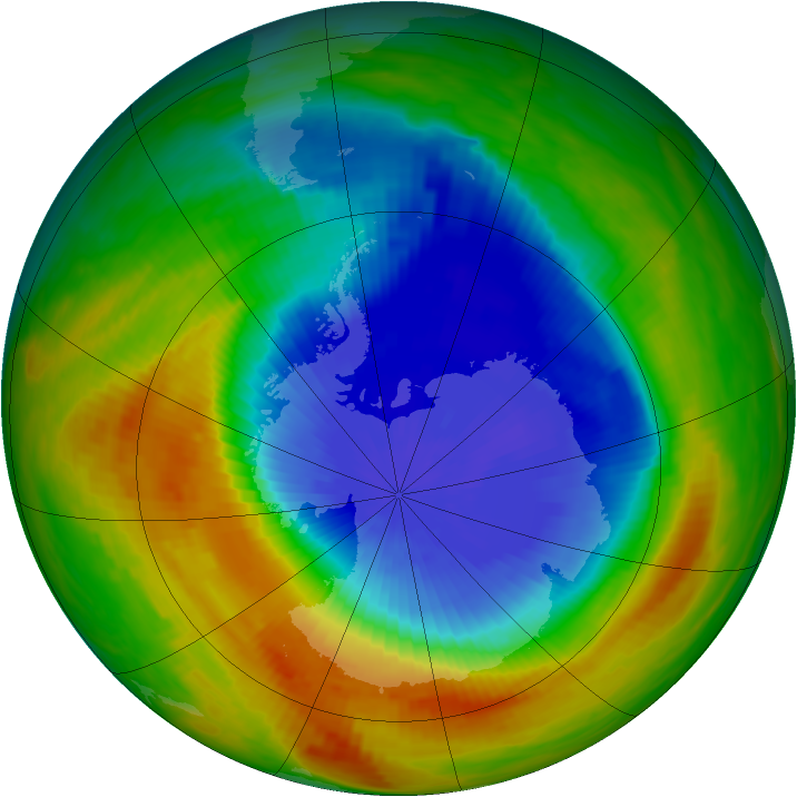 Antarctic ozone map for 30 October 1989