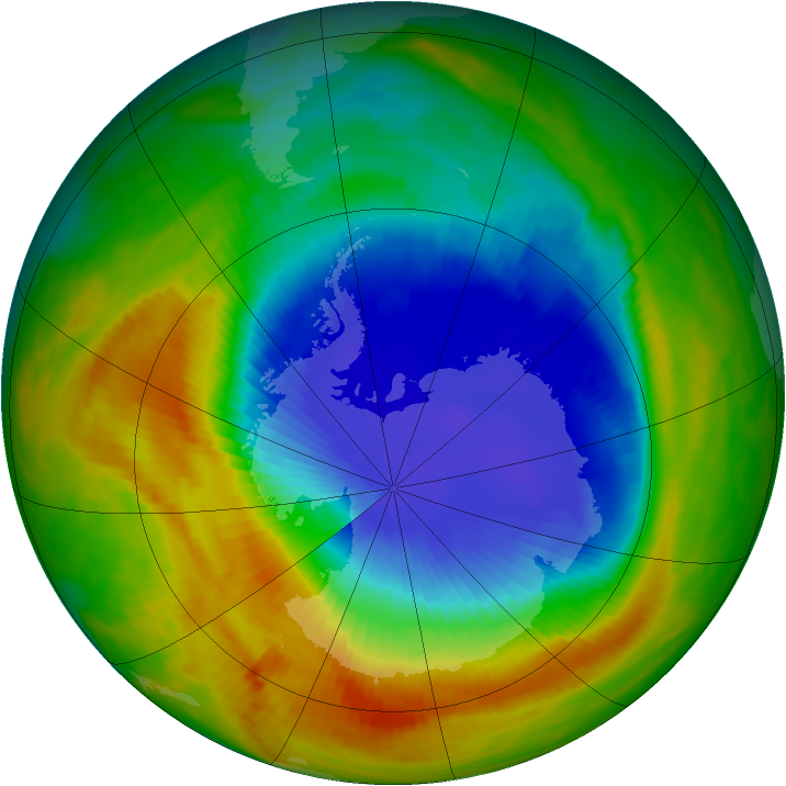 Antarctic ozone map for 31 October 1989