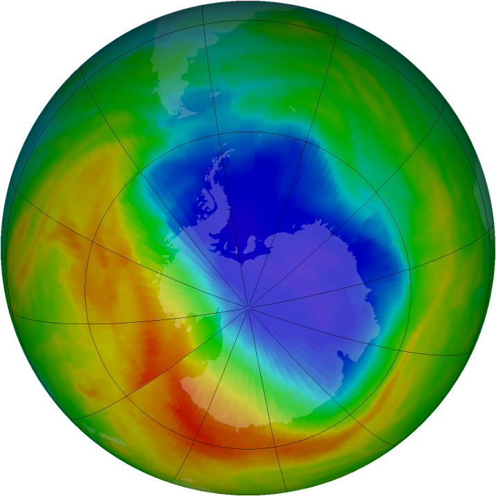 Antarctic ozone map for 01 November 1989