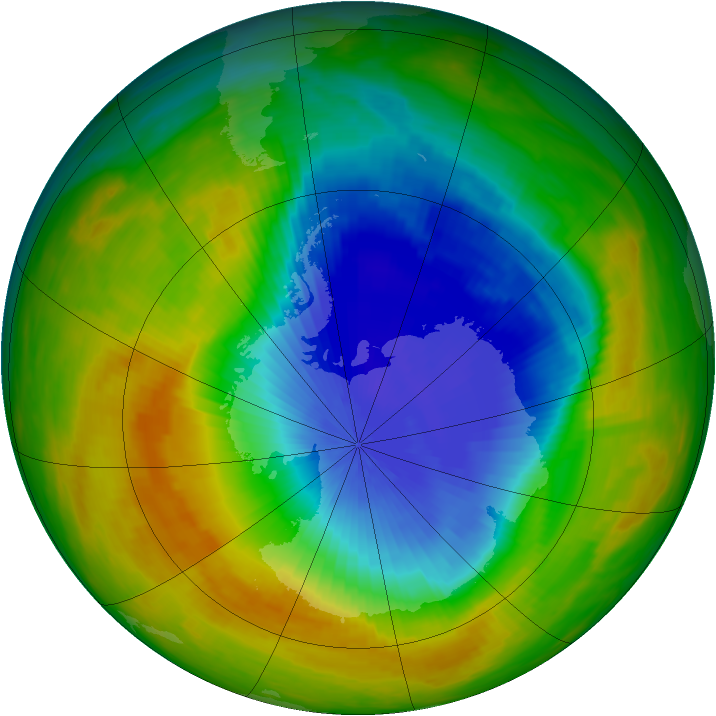 Antarctic ozone map for 03 November 1989
