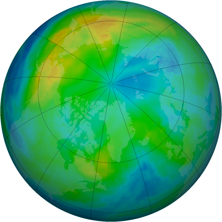 Arctic ozone map for 05 November 1989