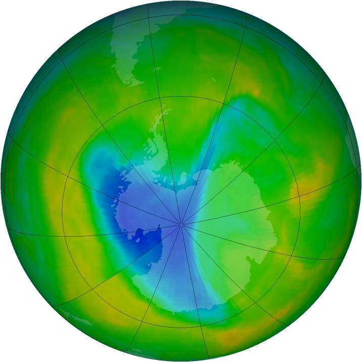 Antarctic ozone map for 27 November 1989