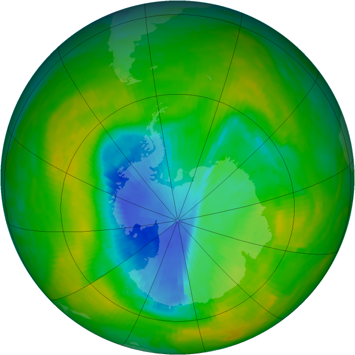 Antarctic ozone map for 28 November 1989