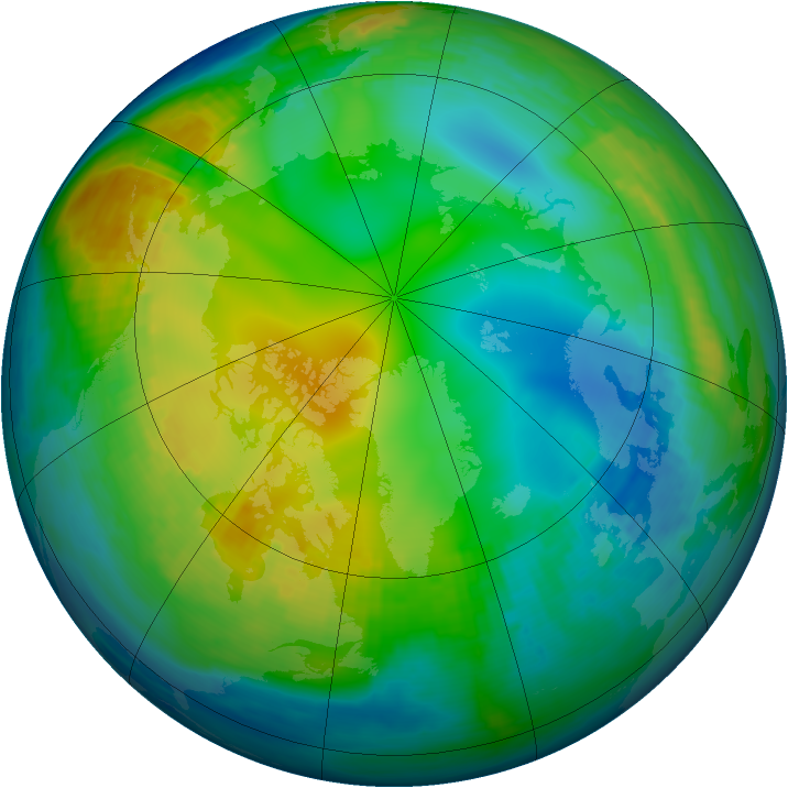 Arctic ozone map for 29 November 1989