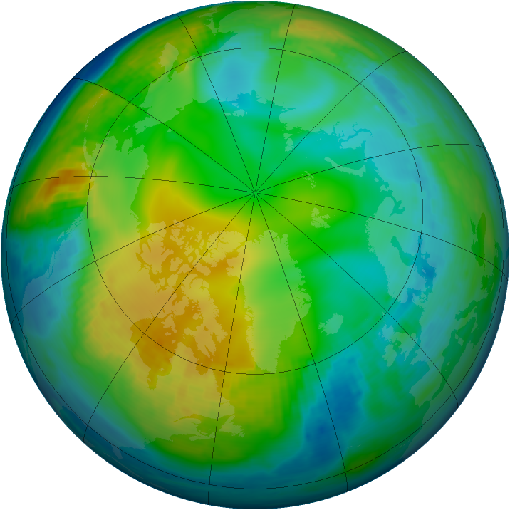Arctic ozone map for 01 December 1989