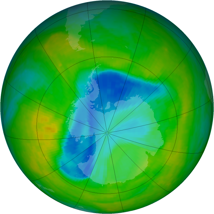 Antarctic ozone map for 01 December 1989