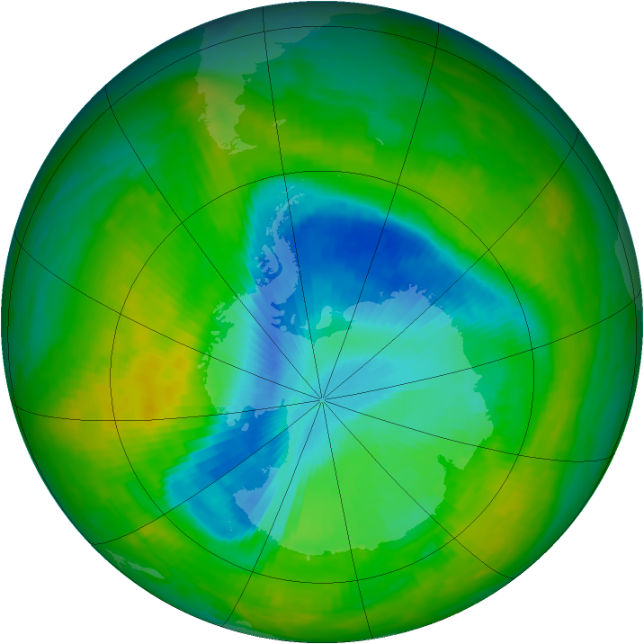 Antarctic ozone map for 02 December 1989