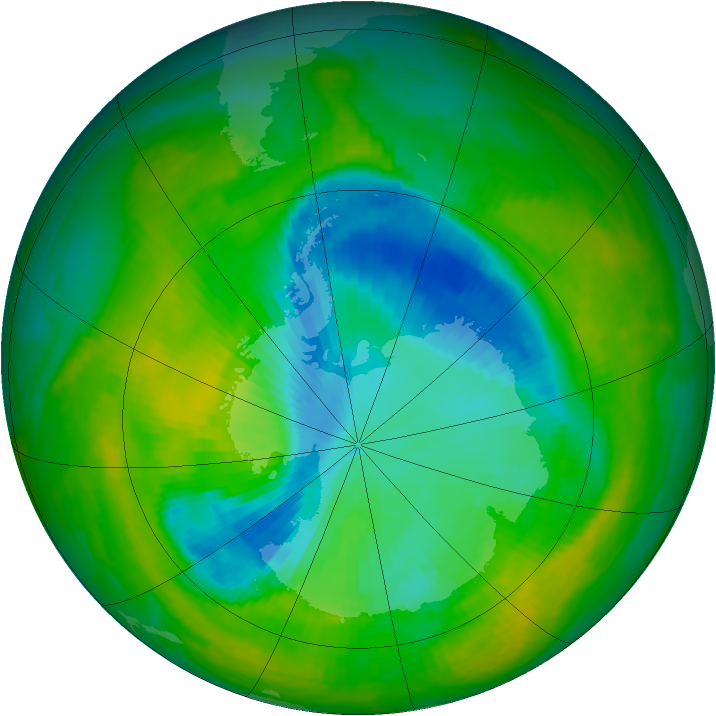 Antarctic ozone map for 03 December 1989