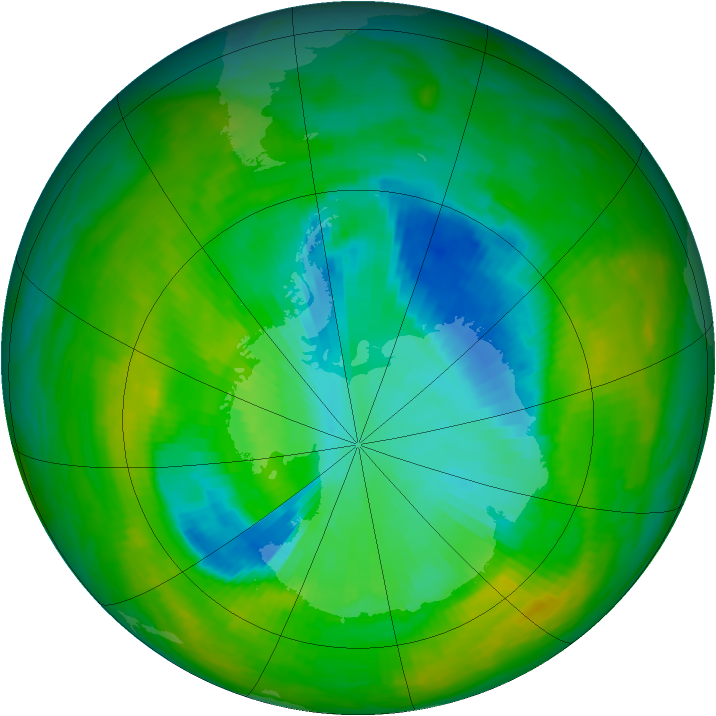 Antarctic ozone map for 04 December 1989