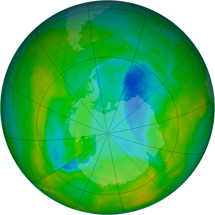 Antarctic ozone map for 05 December 1989