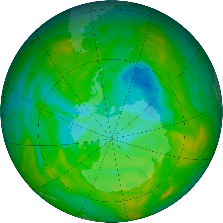 Antarctic ozone map for 08 December 1989