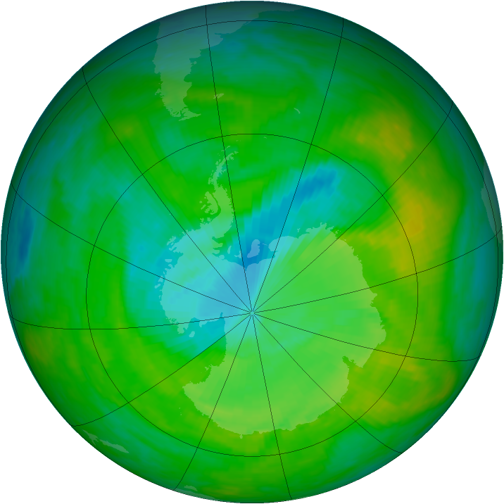 Antarctic ozone map for 11 December 1989