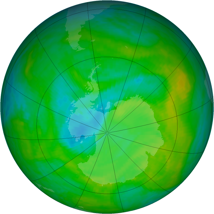 Antarctic ozone map for 12 December 1989