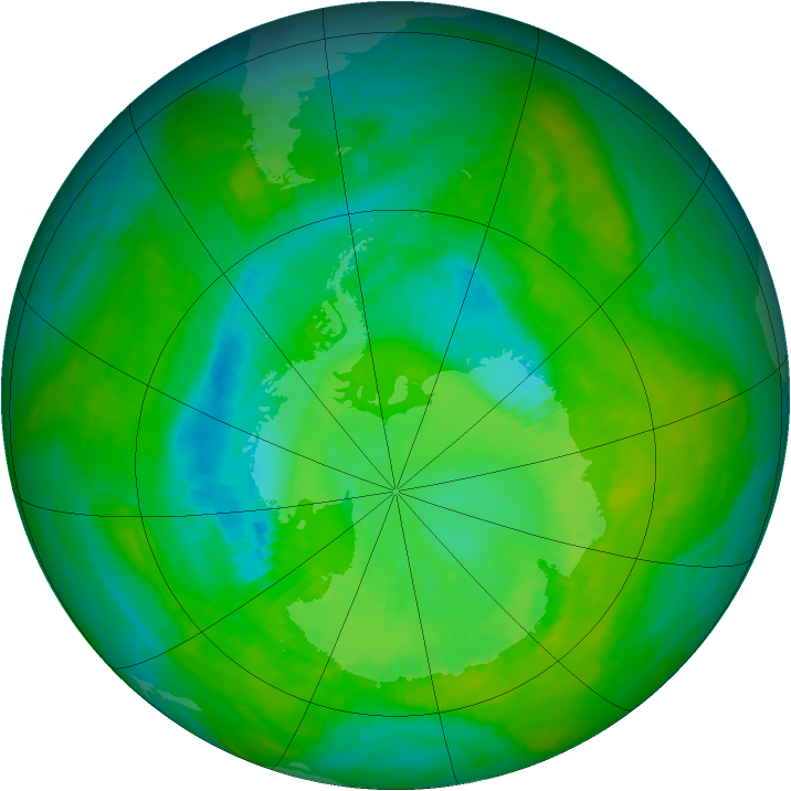 Antarctic ozone map for 15 December 1989