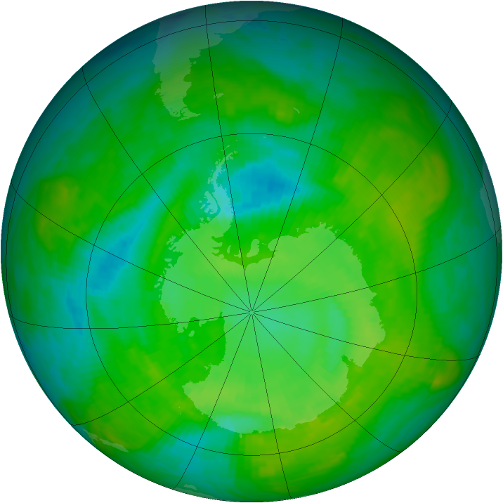 Antarctic ozone map for 17 December 1989