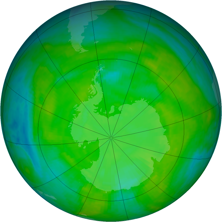 Antarctic ozone map for 20 December 1989