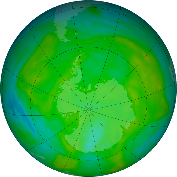 Antarctic ozone map for 21 December 1989