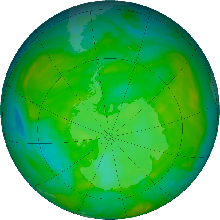 Antarctic ozone map for 22 December 1989