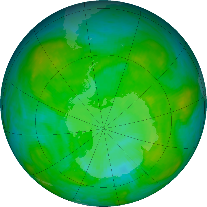 Antarctic ozone map for 24 December 1989