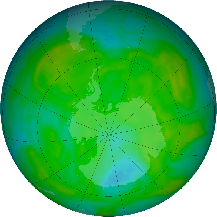 Antarctic ozone map for 25 December 1989