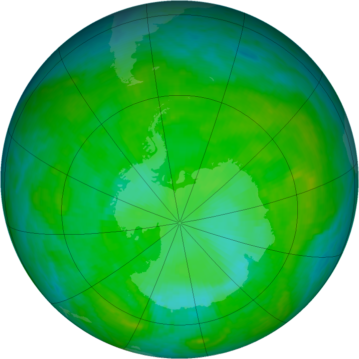 Antarctic ozone map for 28 December 1989