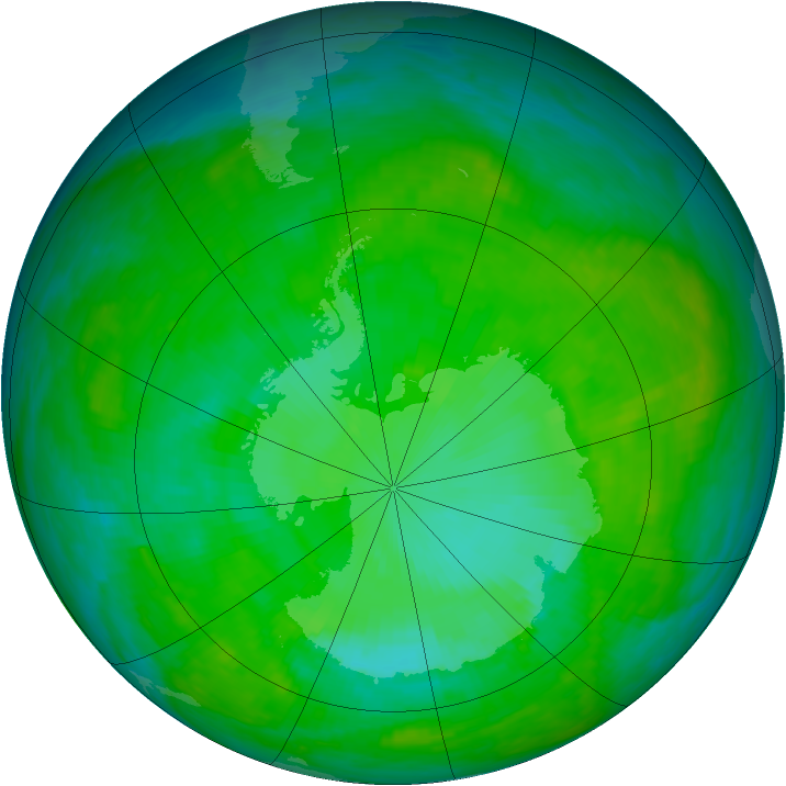 Antarctic ozone map for 29 December 1989