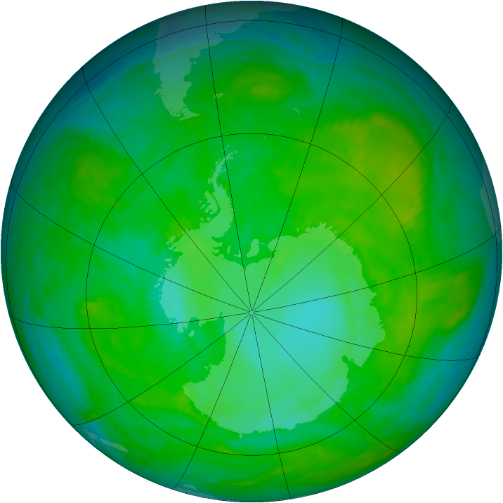 Antarctic ozone map for 31 December 1989