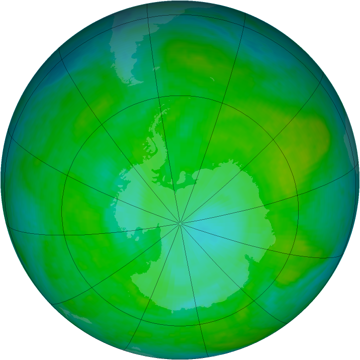 Antarctic ozone map for 01 January 1990