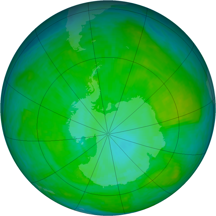 Antarctic ozone map for 02 January 1990